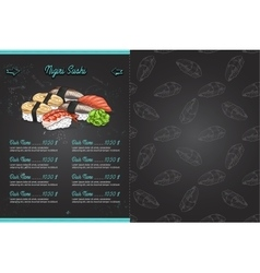 Color horisontal sushi menu vector