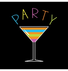 Colorful cocktail in martini glass word party card vector