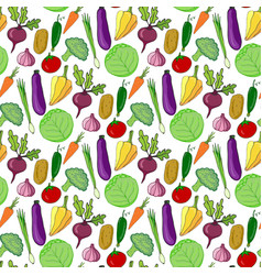 Colorful vegetables hand drawn seamless pattern vector
