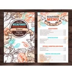 Design Of Seafood Menu In Sketch Style vector image
