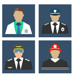 Doctor fireman policeman pilot portrait icon vector
