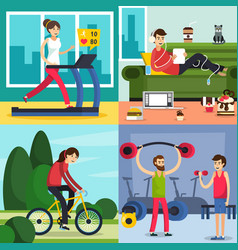 Fitness training people icon set vector
