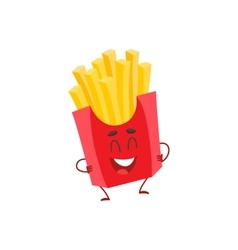 Funny french fries fast food kids menu character vector
