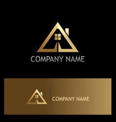 Gold triangle roof house logo vector