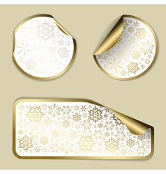 golden christmas stickers vector image