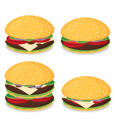 hamburger flat design set vector image