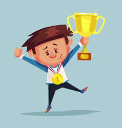 happy smiling little boy winner holds golden cup vector image vector image