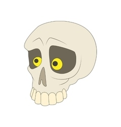 Human skull icon in cartoon style vector
