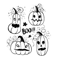 Ink hand drawn halloween pumpkin characters vector
