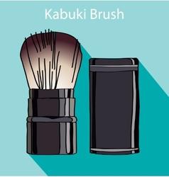 Kabuki brush in style flet vector