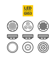 led light gx53 bulbs outline icon set vector image