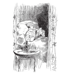 Man reading in bed luxury vintage engraving vector