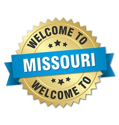Missouri 3d gold badge with blue ribbon vector