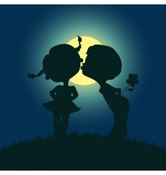 Moonlight silhouettes of kissing boy and girl vector