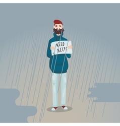Need help Sad man is standing in the rain vector image vector image