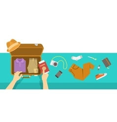 Packing bag for travel vacation flat vector