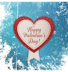 Realistic Happy Valentines Day Heart Emblem vector image