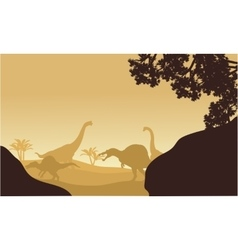 Silhouette of Brachiosaurus and spinosaurus vector image vector image