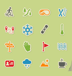skiing icon set vector image