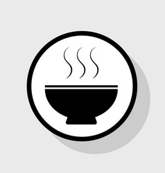 Soup sign flat black icon in white circle vector