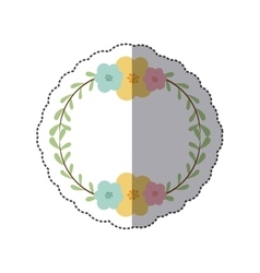 Sticker circular border with leaves and flowers vector