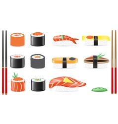 Sushi set icons vector