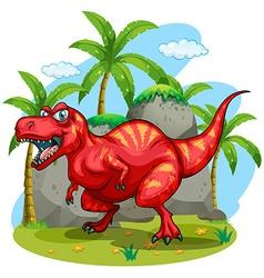 T-rex standing on grass vector