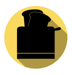 Toaster simple sign flat black icon with vector