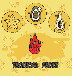 Tropical fruit flat concept icons vector