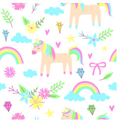 unicorn seamless pattern vector image vector image