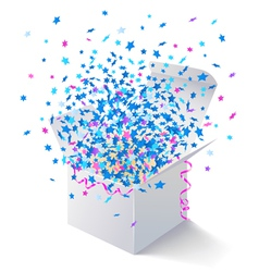 White open box flying stars vector image vector image