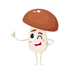 Winking porcini mushroom character with human face vector