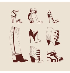 Woman shoes boots sneakers vector