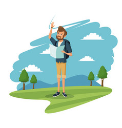 Young guy traveler tourist mountain landscape vector