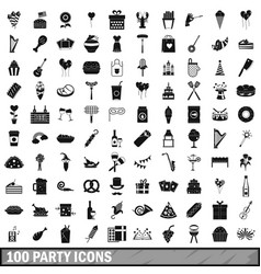 100 party icons set simple style vector image vector image