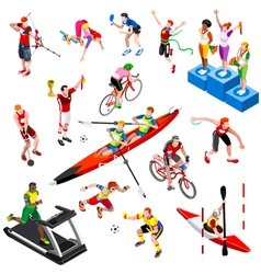 Sport Isometric Sportsmen Set Olympic Game vector image