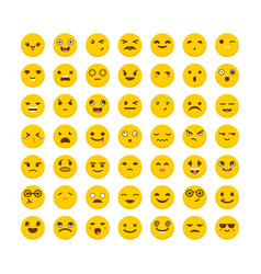 Set of emoticons cute emoji icons flat design vector