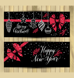 Banners set new years toys hand drawn style on vector