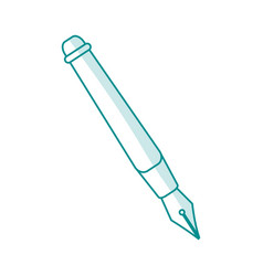 Blue silhouette shading fountain pen icon vector