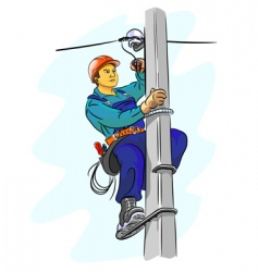 electrician on a pylon vector image