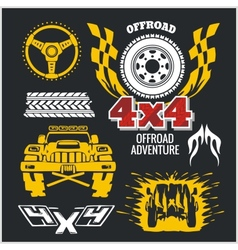 Off-road elements and emblem - set vector