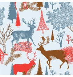 Deer in a forest background vector
