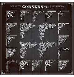 Vintage Corners And Borders Set 3 vector image