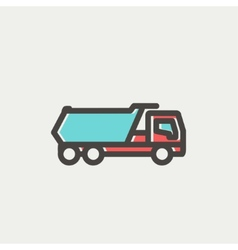Trailer truck thin line icon vector