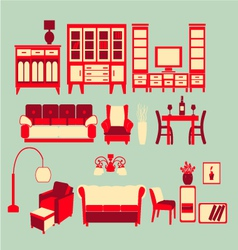 Retro home interior vector