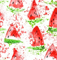 Watermelon seamless watercolor pattern vector