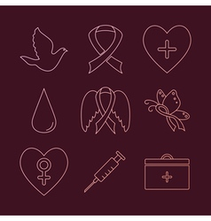Collection of breast cancer awareness icons vector