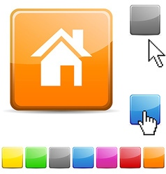 Home glossy button vector