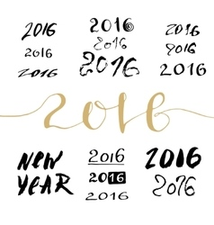 New year handwritten sign bundle calligraphic vector
