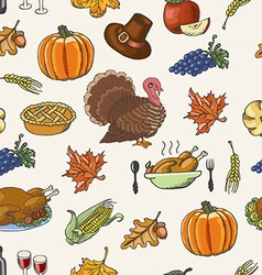 Thanksgiving seamless pattern on white background vector
